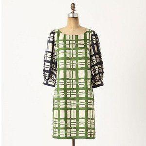 Anthropologie Maeve Broken Blocks Silk Shift Dress